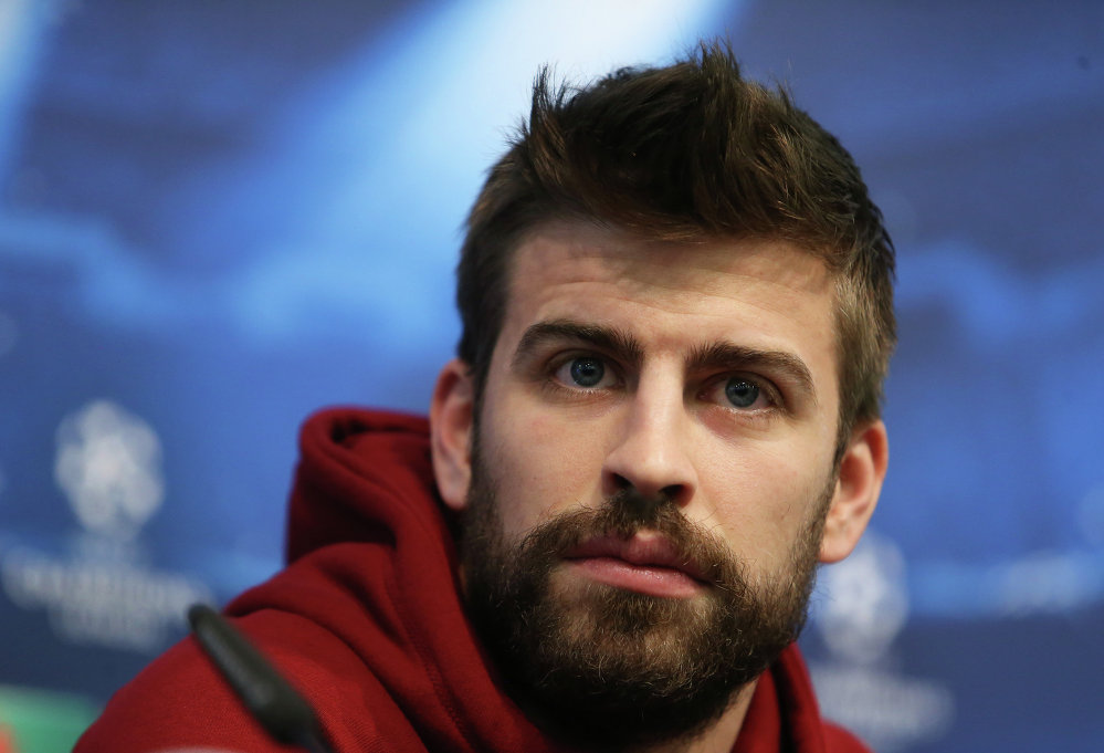 Fotball - FC Barcelona Press Conference - Etihad Stadium, Manchester, England - 23/2/15 FC Barcelona's Gerard Pique during the press conference