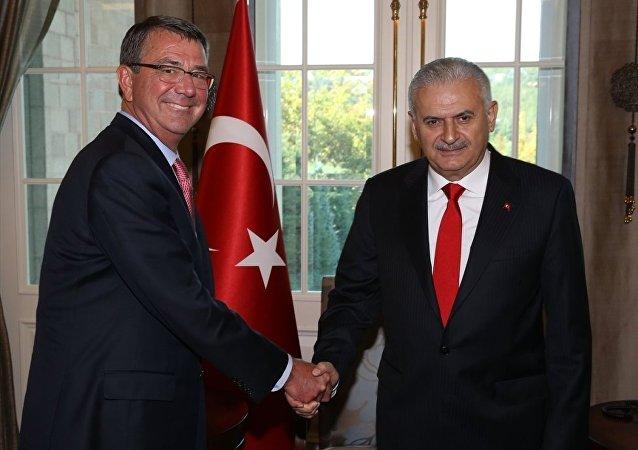 Türkiye Başbakanı Binali Yıldırım-ABD Savunma Bakanı Ashton Carter