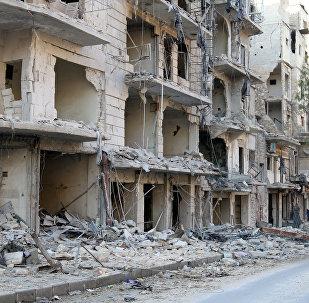 Halep'te harap olmuş binalar
