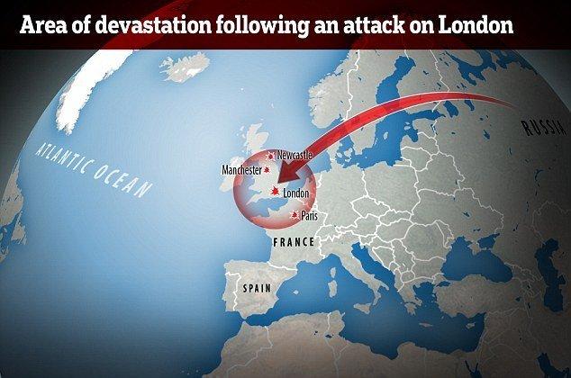 RS-28 Sarmat'ın İngiltere'deki 'olası' yıkım alanını gösteren Daily Mail illüstrasyonu.
