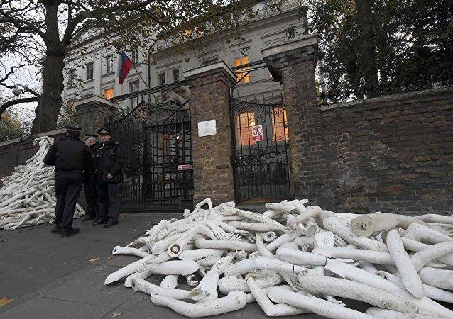 Rusya'nın Londra Büyükelçiliği önünde eylem