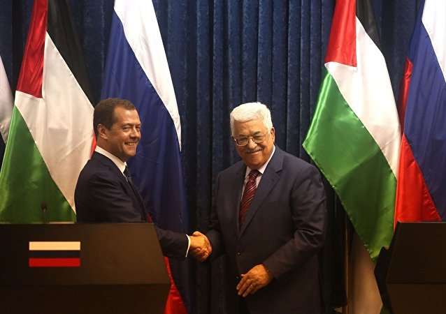 Filistin Devlet Başkanı Mahmud Abbas ve Rusya Başbakanı Dmitriy Medvedev