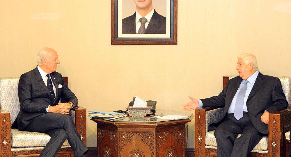 Suriye Dışişleri Bakanı Velid Muallim ve BM Suriye Özel Temsilcisi Staffan De Mıstura