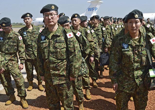 Japon askerlerinin ilk grubu Güney Sudan'ın başkenti Juba'daki havalimanında