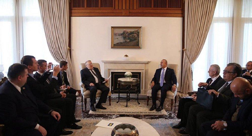 Dışişleri Bakanı Mevlüt Çavuşoğlu, Rusya Liberal Demokrat Parti Genel Başkanı Vladimir Jirinovski'yi kabul etti.