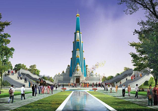 Hindistan'daki Vrindavan Chandrodaya Mandir isimli tapınak