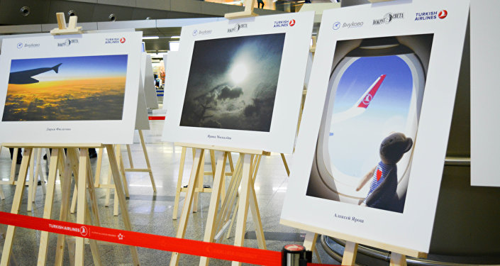Moskova'nın Uluslararası Vnukovo Havaalanı'nda THY'nın fotoğraf sergisi.