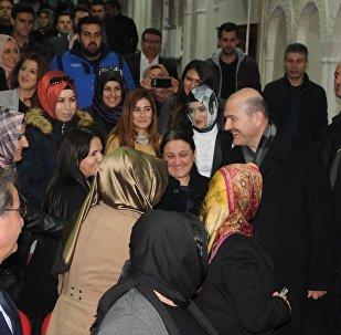 İçişleri Bakanı Süleyman Soylu, Mardin'de İl Müftülüğündeki toplantı salonunda düzenlenen, 'Siyaset Akademisi Büyük Güç Türkiye Eğitim Programı'na katıldı.