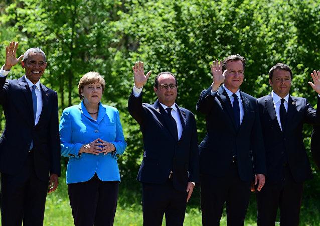 Barack Obama - Angela Merkel - FranÇois Hollande - David Cameron - Matteo Renzi