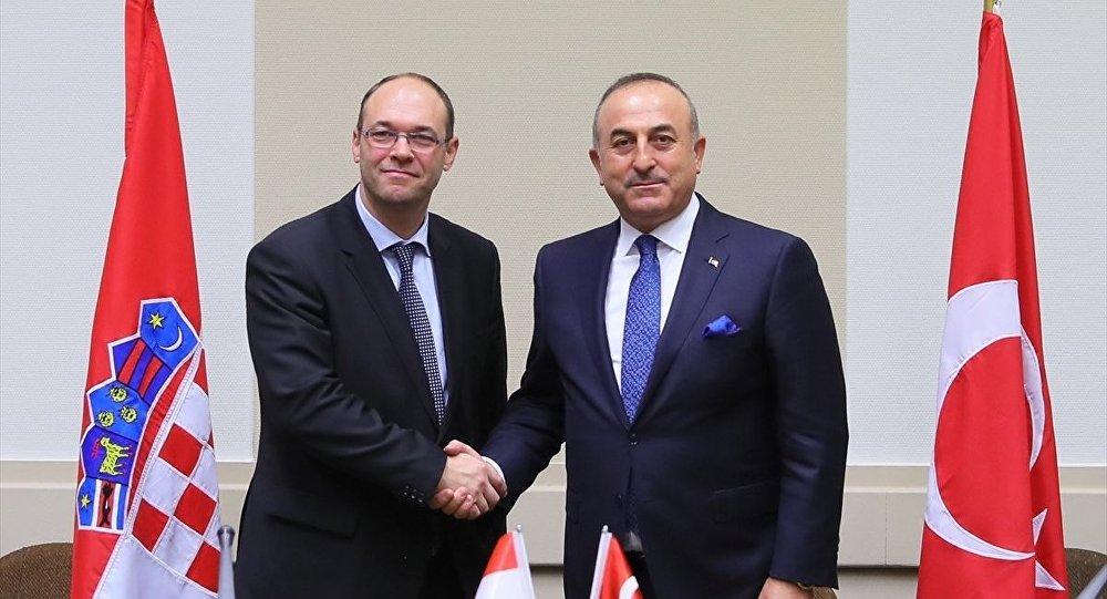 Dışişleri Bakanı Mevlüt Çavuşoğlu, NATO Dışişleri Bakanları Zirvesi için geldiği Brüksel'de Hırvatistan Dışişleri Bakanı Davor İvo Stier ile görüştü.