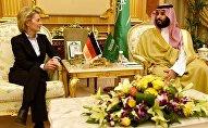 Almanya Savunma Bakanı Ursula von der Leyen ve Suudi mevkidaşı Muhammed bin Selman el-Suud