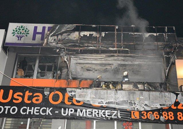 Bursa'da HDP Yıldırım İlçe Başkanlığı'nın binası ateşe verildi
