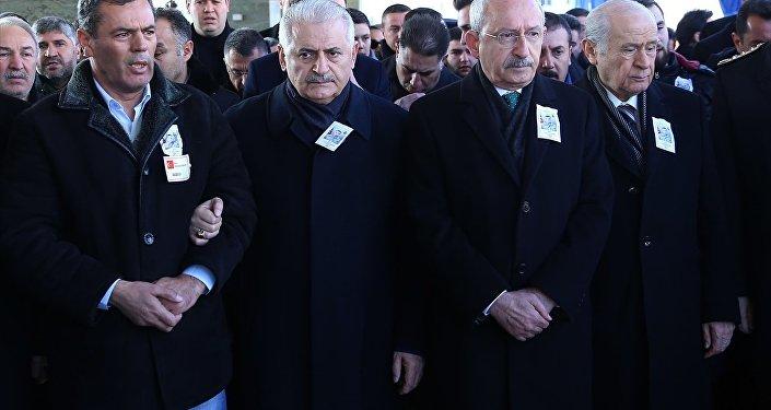 Başbakan Binali Yıldırım, CHP Genel Başkanı Kemal Kılıçdaroğlu ve MHP Genel Başkanı Devlet Bahçeli
