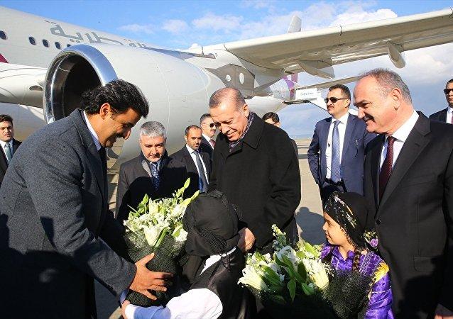 Cumhurbaşkanı Recep Tayyip Erdoğan- Katar Emiri Şeyh Temim Hamad El Tani