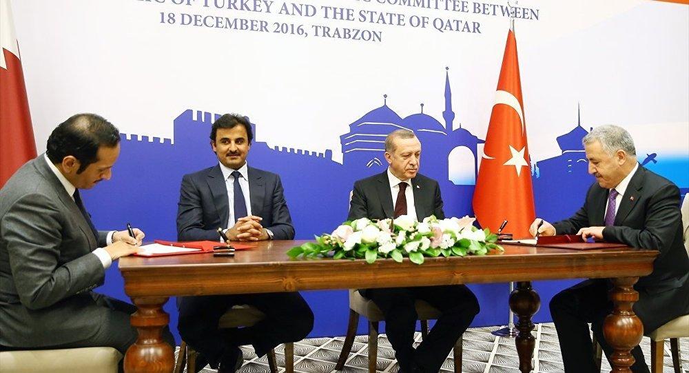 Cumhurbaşkanı Recep Tayyip Erdoğan ve Katar Emiri Şeyh Temim Hamad El-Tani, Trabzon'da düzenlenen Türkiye-Katar Yüksek Stratejik Komite İkinci Toplantısı'na katıldı. Türkiye-Katar Yüksek Stratejik Komite İkinci Toplantısı'nın ardından iki ülke arasında eğitim, sağlık, maliye, bilgi, iletişim, gençlik, spor, kültür, gümrük ve tarım gibi alanlarda mutabakat zaptı, anlaşma, eylem planları ve ortak bildiri Cumhurbaşkanı Recep Tayyip Erdoğan ile Katar Emiri Şeyh Temim Hamad Al-Sani'nin huzurunda imzalandı.