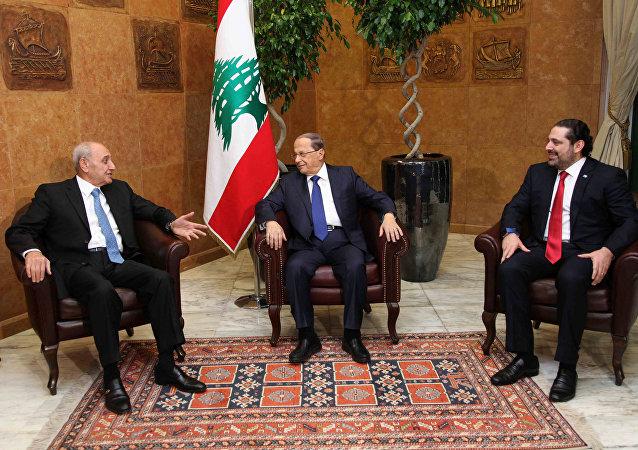 Mişel Aun - Saah Hariri - Nebih Berri