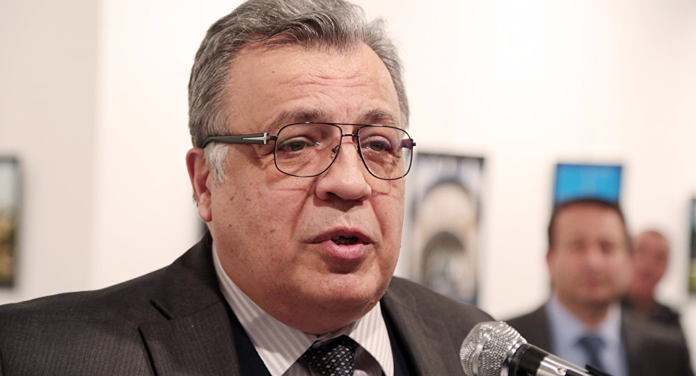 Russian Ambassador to Turkey Andrey Karlov moments before he was shot and killed in Ankara