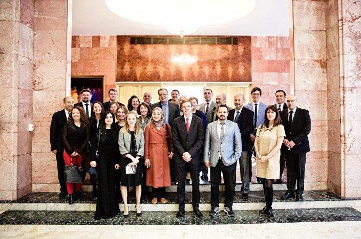 Büyükelçi Andrey Karlov, Ankara'da gazetecilerle.