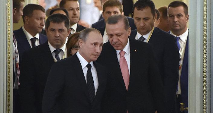 Rusya Devlet Başkanı Vladimir Putin ile Cumhurbaşkanı Recep Tayyip Erdoğan