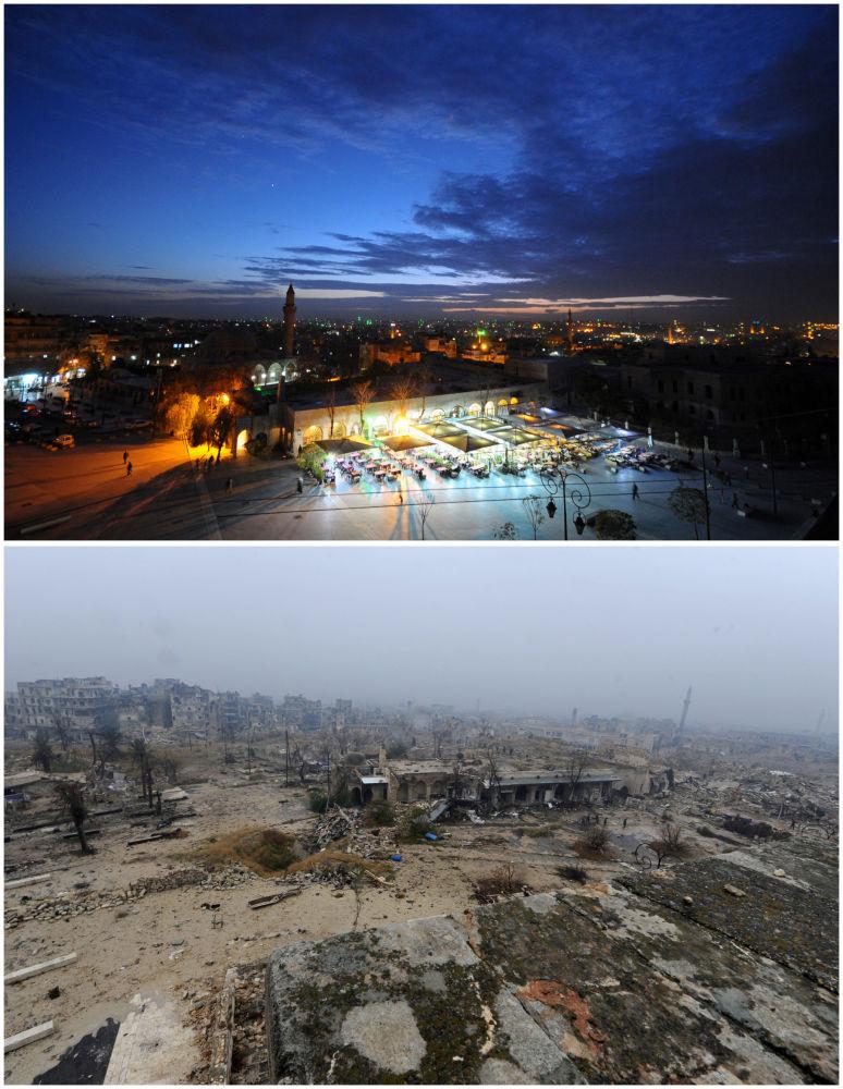 Antik Halep Şehri'nin  manzarası Kasım 2008  Aralık 2016.
