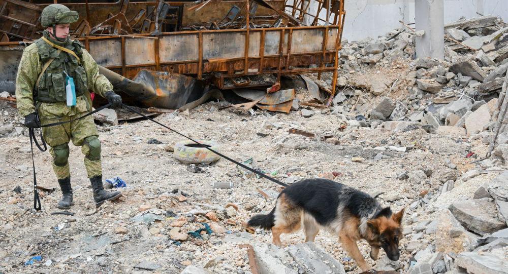 Rus mühendislerin Halep'te mayın temizleme çalışmaları