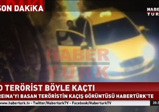 Reina saldırganının taksiyle kaçma görüntüsü