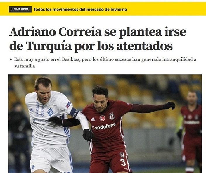 Adriano'nun Beşiktaş'tan ve Türkiye'den ayrılmak istediğini yazan İspanyol gazetenin sayfası