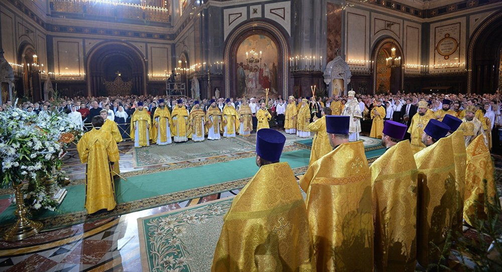 Patriarch Kirill of Moscow and All Russia during a solemn liturgy dedicated to the great feast of Nativity at the Cathedral of Christ the Savior in Moscow