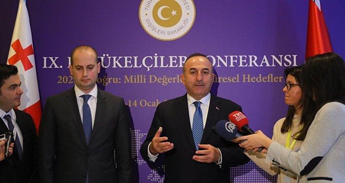 Dışişleri Bakanlığı tarafından düzenlenen 9. Büyükelçiler Konferansı ikinci gününde devam etti. Konferansa katılan Gürcistan Dışişleri Bakanı Mikheil Janelidze ile Dışişleri Bakanı Mevlüt Çavuşoğlu ikili görüşme gerçekleştirdi.