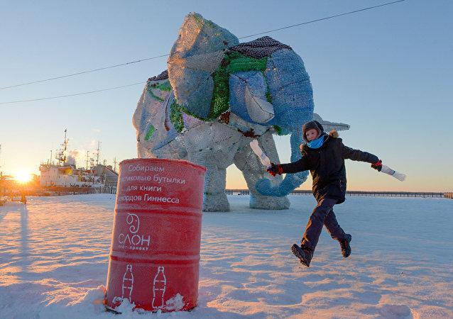 Rusya'da plastik şişelerden yapılan fil