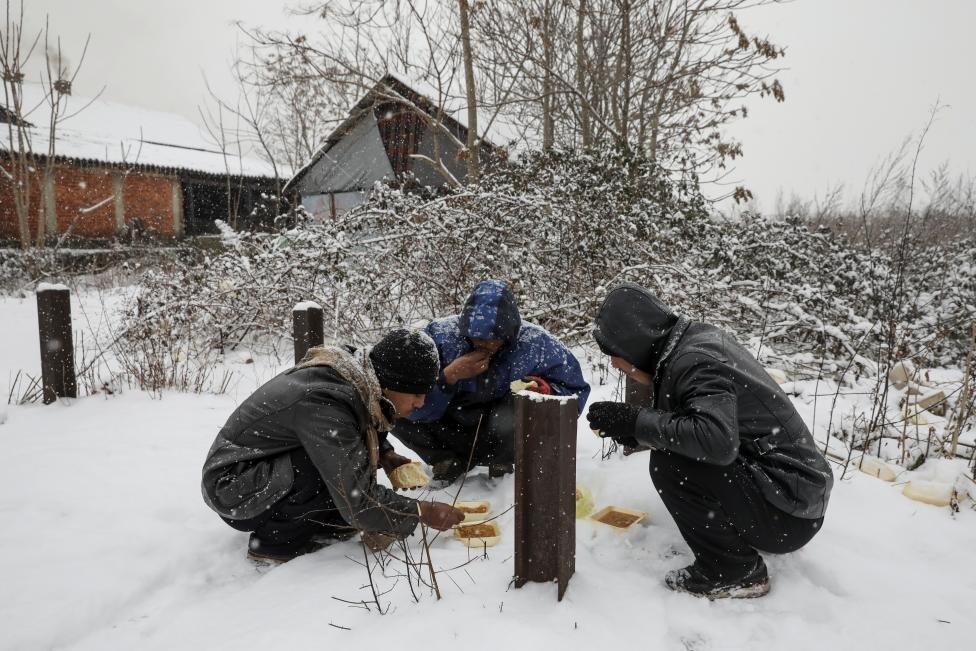 Yardım kurumlarının dağıttığı yemekler için uzun kuyruklar oluşturan sığınmacılar karınlarını da dışarıda doyuruyor.