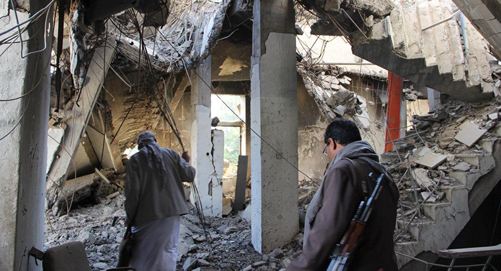 Yemen, Sada kenti yakınlarında bombalanan bina