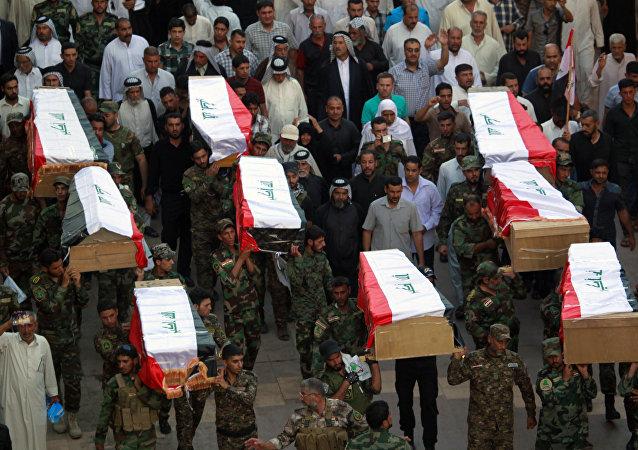 Spyker Katliamı'nda öldürülen Iraklı askeri öğrencilerin naaşları