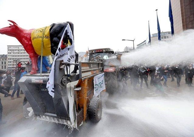 AB Konseyi'ne süt tozuyla protesto