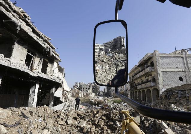 Halep'teki tarihi anıtların yıkıntıları