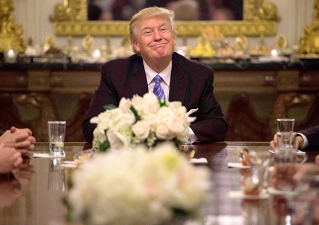 US President Donald Trump during a reception with Congressional leaders on January 23, 2017 at the White House in Washington, DC.