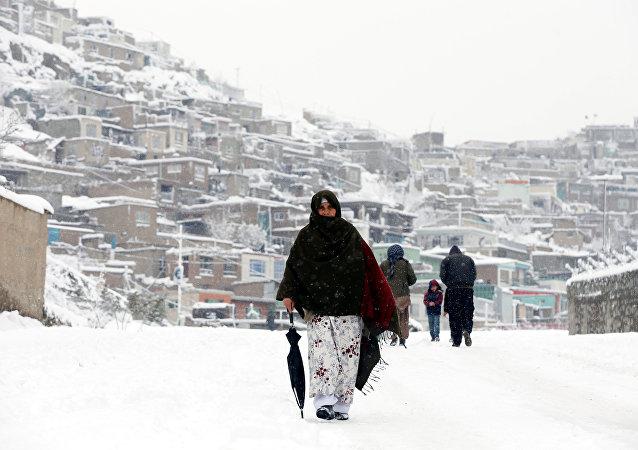 Afganistan'ın başkenti Kabil'de kar yağışı