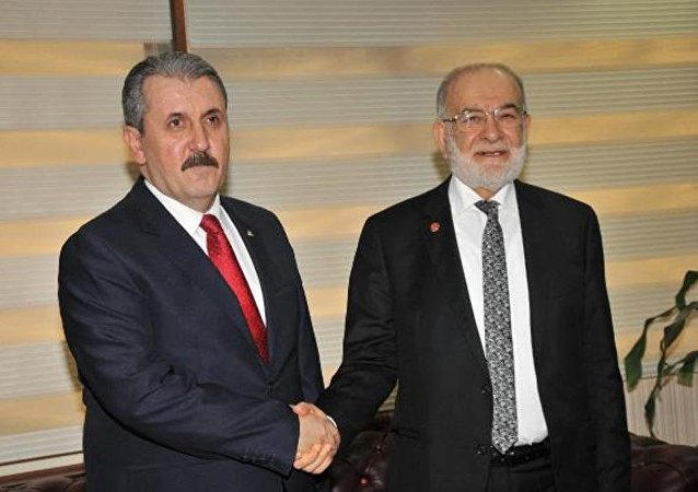 Saadet Partisi Genel Başkanı Temel Karamollaoğlu - Büyük Birlik Partisi  Genel Başkanı Mustafa Destici