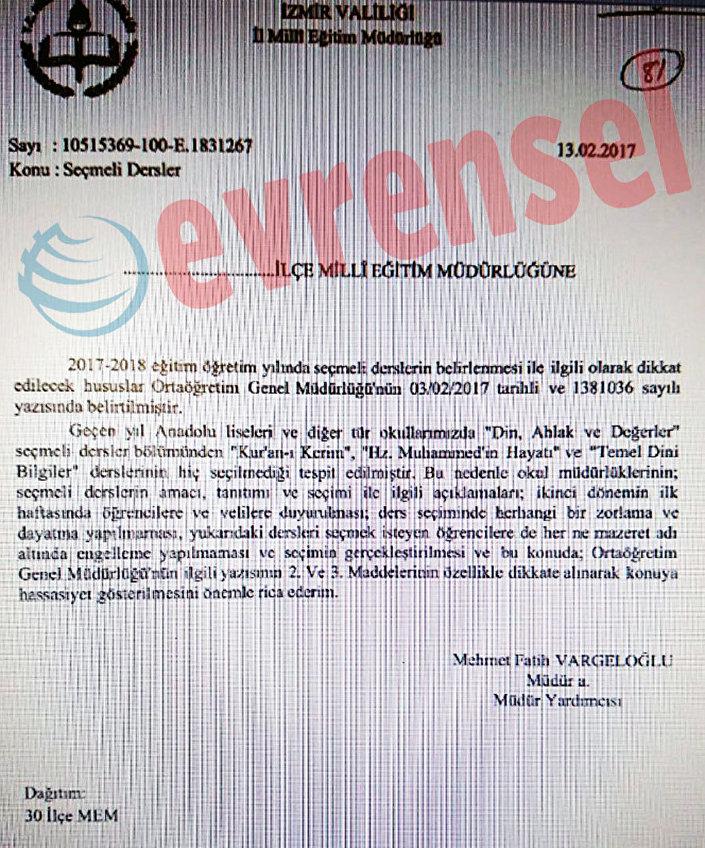 İzmir İl Milli Eğitim Müdürlüğü'nden 'din dersi' yazısı