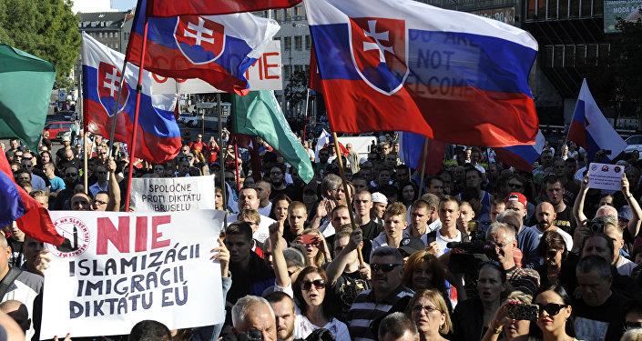 Slovakya'da aşırı sağın göçmen karşıtı protestoları