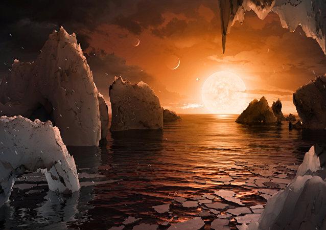 Yeni keşfedilen TRAPPIST-1 sistemindeki gezegenlerden biri olan TRAPPIST-1f'in olası yüzey görünümü