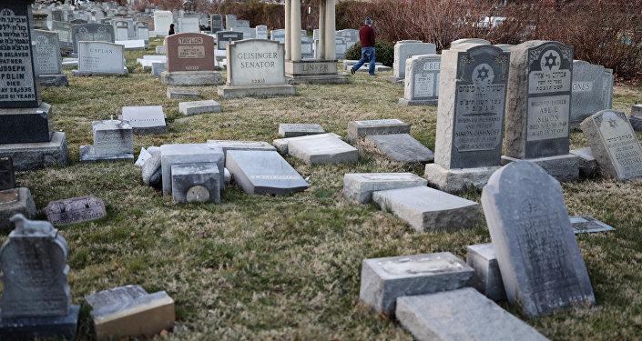 Tahrip edilen Philadelphia'daki Yahudi mezarlığı