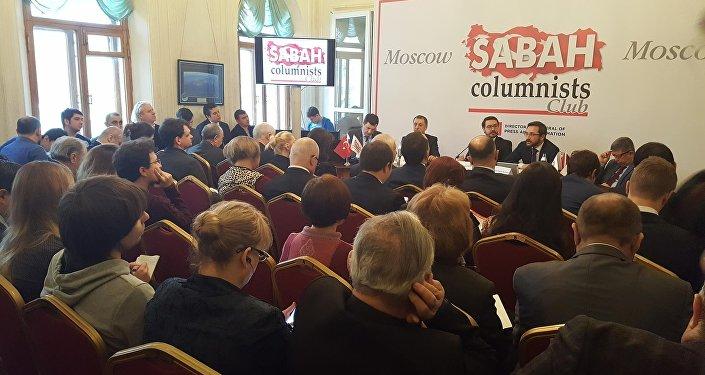 Moskova'da Gazeteciler Evi'nde Sabah Gazetesi ve Başbakanlık Basın Yayın Enformasyon Genel Müdürlüğü'nün organize ettiği panel
