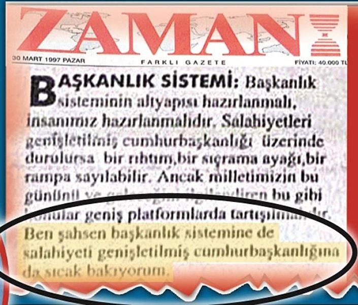30 Mart 1997 tarihli Zaman gazetesinde yer alan Gülen röportajı
