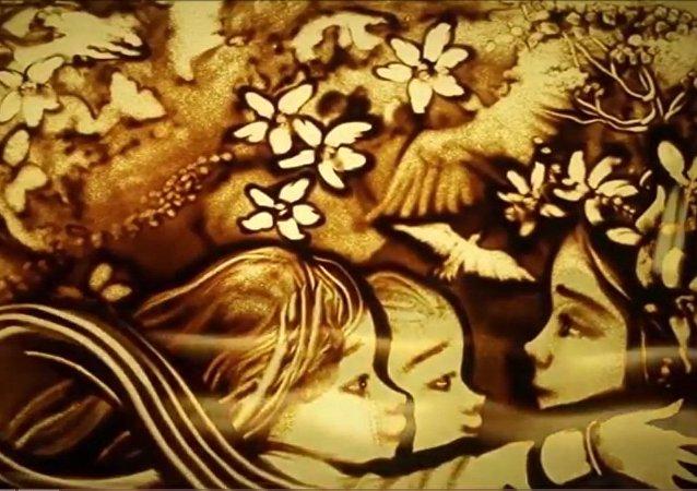 Kırımlı kum sanatçısı, 8 Mart'ı özel bir görsel şovla kutladı
