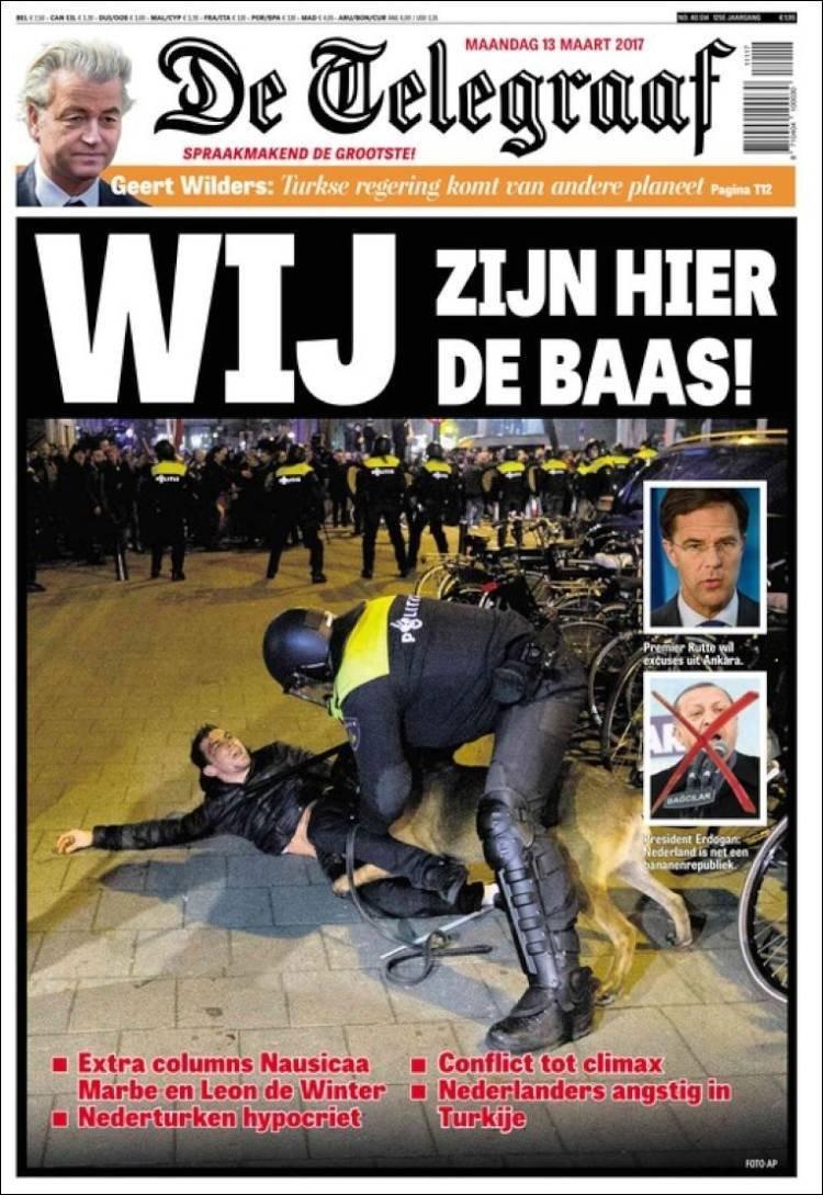 De Telegraaf gazetesinin 'Burada patron biziz' manşeti