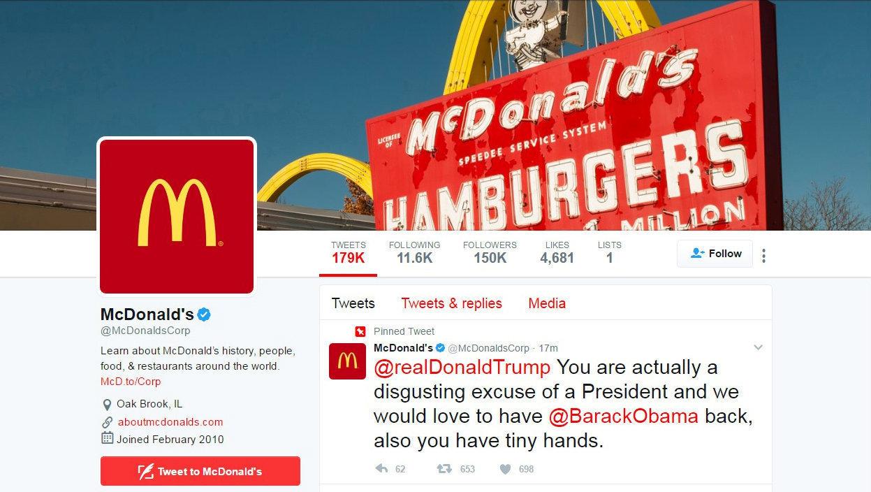 McDonald's hesabından atılan Trump tweeti