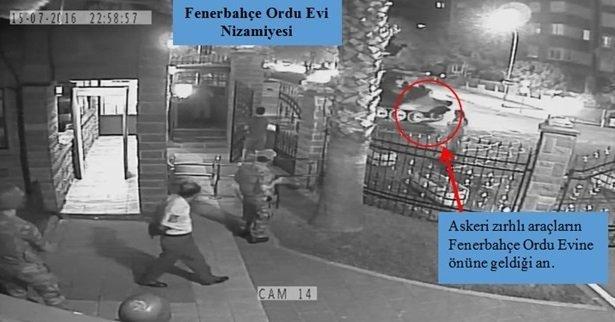 15 Temmuz darbe girişiminde 40 askerin 4 zırhlı askeri araçla Fenerbahçe Orduevi'ni bastığı anlara ilişkin fotoğraflar iddianameye yansıdı.