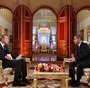 Cumhurbaşkanı Recep Tayyip Erdoğan ve Habertürk TV Genel Müdürü Veyis Ateş