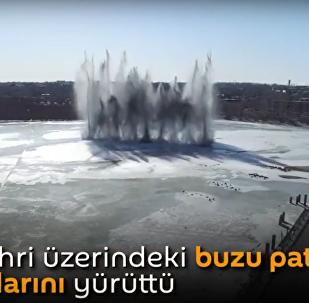 Rusya'da nehirlerin üzerini kaplayan buzlar patlatılıyor